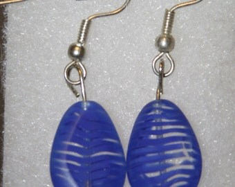 Royal Blue Feather look beaded earrings
