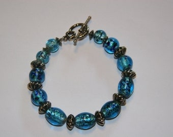 Teal and  Bali Beads Bracelet