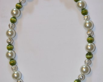 Pearl, Silver plated filgaree Beads and Green Cat's Eye Necklace with secure clasp