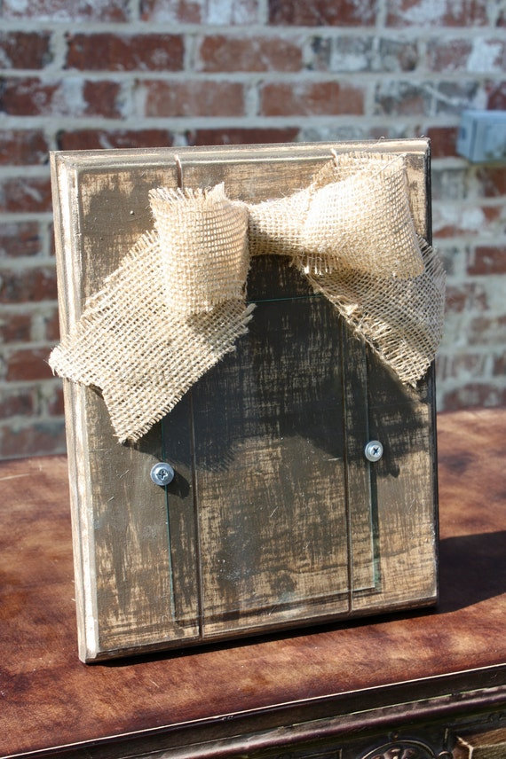 Distressed 5x7 Harvest Brown Picture Frame with Burlap Bow