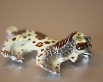 Dog Brooch.  Enamel and marquesite spaniel brooch