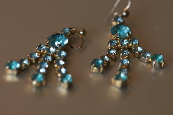 Aquamarine Diamante drop earrings