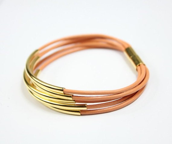 women bracelet-Coral leather bracelet with gold tubes and gold magnet
