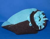 Chocolate Brown & Teal Felt Bowl with Flower