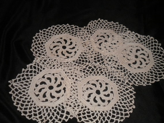 Crocheted Doilies Set of Five - Coasters