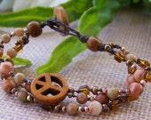 SAND CASTLES Boho, Bohemian, Hippie-chic, Beachy,  3 Strander  beaded bracelet