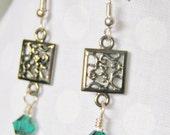 Intricate Dangle Earrings Emerald Green Crystal Metal Scroll Womens Jewelry Wedding Gift Christmas in July