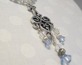 SOE &SOLD  to Gretchen Metal Scroll Pendant Necklace Pale Sky Blue Crystal Wedding Set Elegant Gift Unique Beaded Heart