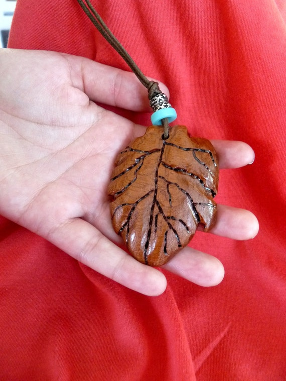Beautiful Handcarved Wooden Leaf  Pendant on Waxed Cord with Bead