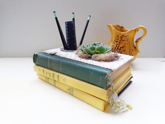 Upcycled Book Planter - A Woman Called Fancy - Highly Detailed Vintage Book Planter & Desktop Organizer