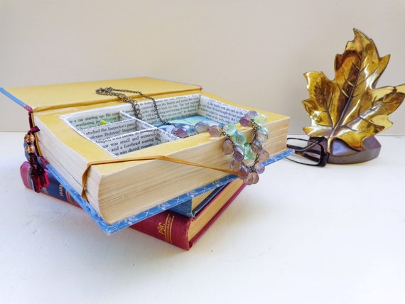 Eco Book Jewelry Box Vintage Readers Digest Small Jewelry Box Jewelry Book Safe // Antique Rose