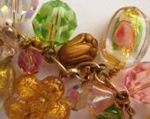 Pink , green and golden sunshine cluster bracelet