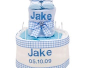 The Personalised baby boy 2 Tier Nappy Cake blanket and bib set with any name and date of birth christening gift basket newborn socks shower
