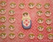 Edible Cupcake toppers-Russian Doll Faces, gumpaste MINI discs (25PCS)