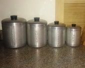 Vintage Brushed Aluminum 4-Piece Kitchen Canister Set - Flour, Sugar, Coffee & Tea - CatamountCurios