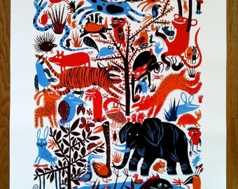 Animal Party limited edition giclee print 48cm x 60cm (15/150)