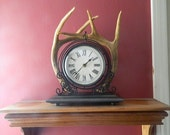 Deer antler desk clock