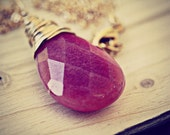 Necklace- Fuchsia Jade Teardrop Wire wrapped in Gold Permanently Colored Non Tarnish Wire on Gold Filled Chain necklace