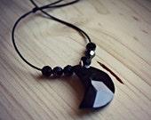 Big Black Swarovski Moon Stone with Small Black Swarovski Stones on a Black String Necklace