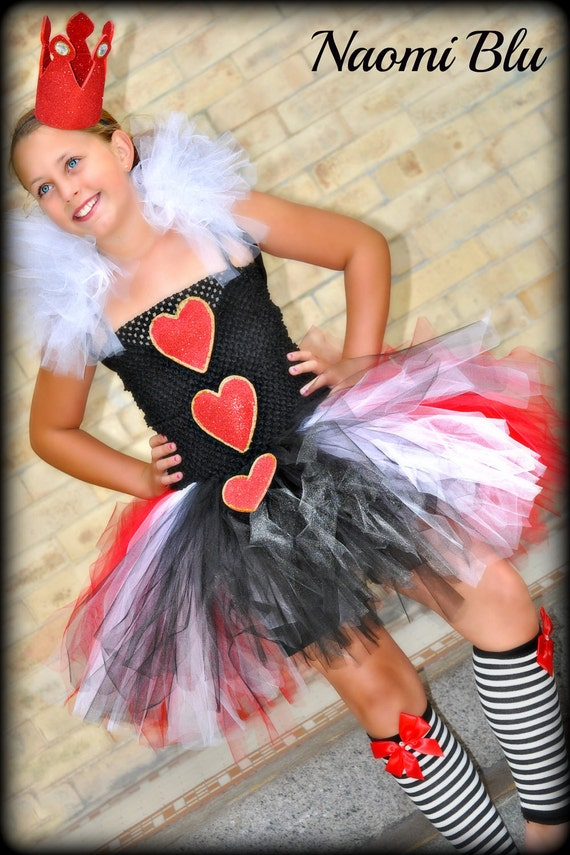 Alice in Wonderlands' Queen of Hearts Tutu Dress and Crown. Great for Themed Birthday Party, Weddings Costmes