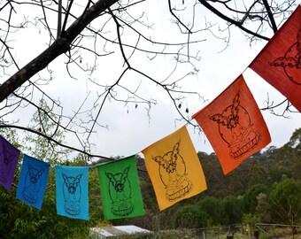 Faerie flags rainbow fairy Bunting meditation boho hippie child's room, garden bunting woodland whimsical chakra, faery flags by faerymother