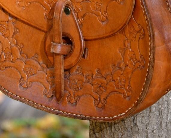 honey brown tooled leather boho bag