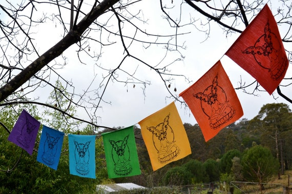 SALE 40% off Funky magical Rainbow fairy Bunting... meditation, garden magic, chakra, faery flags