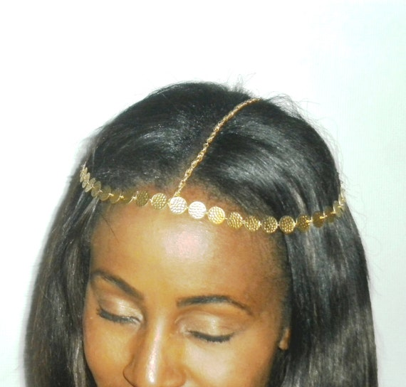 Grecian Style Inspired VINTAGE Gold Color HEAD CHAIN/ Head Piece Jewelry