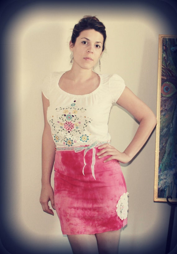 Mexican Mamacita Mini Dress Embroidered Flowers Tie Dye Festival Vintage Inspired Upcycled Clothing by Sweet L Michelle