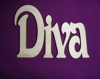 Diva Word Wood Cut Out Cute Unfinished Wooden Connectd Words