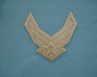 Unfinished Wood USAF Wing Logo Cut Out US Air Force Wooden Crafts