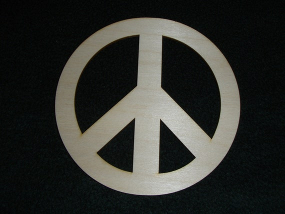 Peace Sign Shape Symbol Unfinished wooden Craft Cut Out Part 022