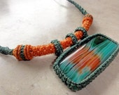 Macrame Necklace - orange and green with Agate stone