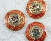 Vintage Buttons - Lot of 3 Antique Brown, Gold, Glitter Abstract Metal 20mm for Jewelry Supplies, Scrapbooking, Sewing