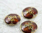Vintage Buttons - Lot of 3 Antique Brown, Glitter Triangel Metal 20mm for Jewelry Supplies, Scrapbooking, Sewing