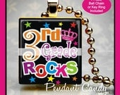 3rd Grade Rocks Scrabble Tile Pendant with Free Silver Ball Chain Necklace or Key Ring