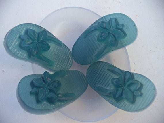 Flip flop soap - tea tree oil - glycerin soap  - fun soap - blue soap - summer soap - Virgin Islands