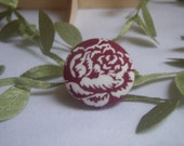 Burgundy and White Rose Fabric Button Brooch