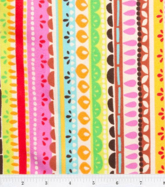 Flannel Fabric Fiesta Stripes vibrant yellow orange green blue red - ONE YARD