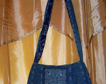 Unique Upcycled Blue Jeans Embroidered Handbag ~ purse