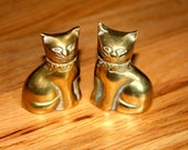 Brass Cat Figurines - Vintage