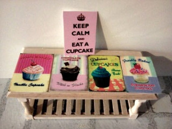 Reserved FOR Rhonda Lutz    dolls house cupcake posters set of five