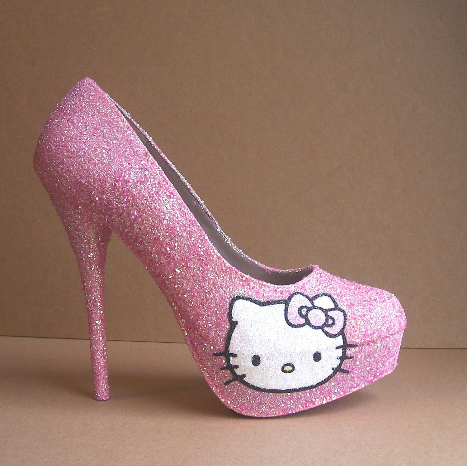 Pink Hello Kitty Glitter High Heels by TattooedMary on Etsy