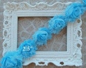1 Yard Shabby Frayed Fabric Flowers Wholesale - LIGHT BLUE - Wholesale Embellishments - Frayed Flowers