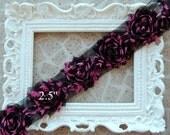 1/2 Yard  Shabby Frayed Fabric Flowers Wholesale - Black and Pink Dot - Wholesale Embellishments - Frayed Flowers - Scrapbooking