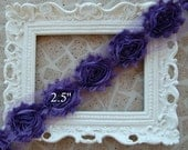 1/2 Yard Shabby Frayed Fabric Flowers Wholesale - Shabby Rose Trim - Purple - Wholesale Embellishments - Frayed Flowers