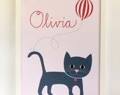 Happy Cat, Pink. Personalized, custom childs print poster wall artwork for baby girl nursery. A3