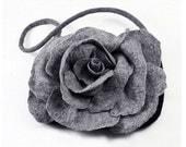 Designer Bag Felted Bag Nunofelt Handbag Rose Purse wild Felt Nuno felt Silk grey gray fog fairy floral fantasy shoulder bag Fiber Art boho