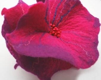 Felted Brooch nunofelt flower nunofelt silk pink purple violet lilac fuschia folk boho wool victorian fairy