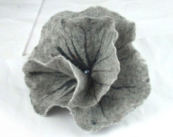 Felted Brooch Grey brooch felt flower nunofelt Nuno felt Silk Silkyfelted Eco handmade fairy floral fantasy Fiber Art boho